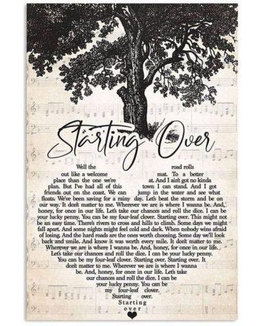 Chris stapleton starting over lyrics heart typography for lovers poster poster canvas
