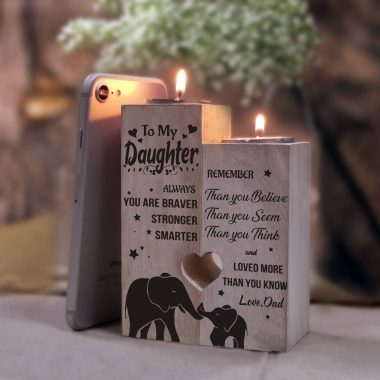 Dad to Daughter - You Are Loved More Than You Know - Engraved Candle Holder With Heart