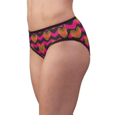 Gold Hearts Pink Herringbone Zig zag Love Valentine Women's Briefs Underwear