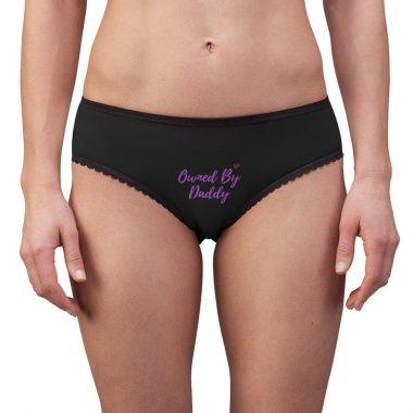Owned By Daddy Fetish Sex Kink BDSSM Black Purple Women's Briefs Panties