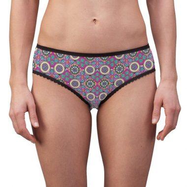 Paisley Pink Floral Flowers Ornate Mandala Design Women's Briefs Underwear
