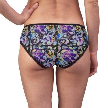 Paisley Purple Pink Blue Black Swirl Ornate Women's Briefs Underwear