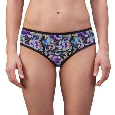 Paisley Purple Pink Blue Black Swirl Ornate Women's Briefs Underwear