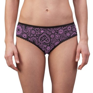 Pink Black Floral Lace Paisley Flower Swirl Ornate Design Women's Briefs Underwear