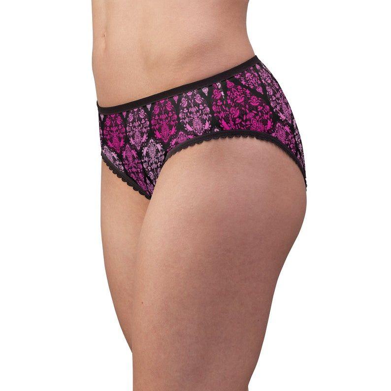 Pink Paisley Ornate Scroll Floral Design Women's Briefs Underwear