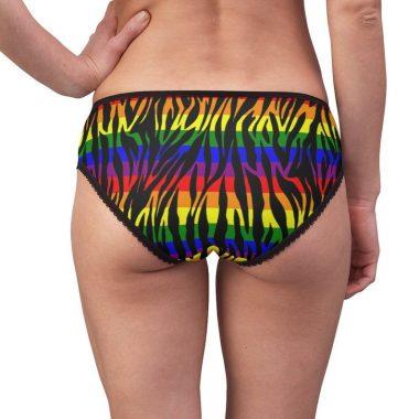 Rainbow Zebra Animal Print Gay Pride LGBTQ Flag Stripes Women's Briefs Underwear