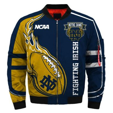 2020 Newest NCAA Jacket Custom Notre Dame Fighting Irish Jacket Cheap Bomber Jacket Size S-5XL
