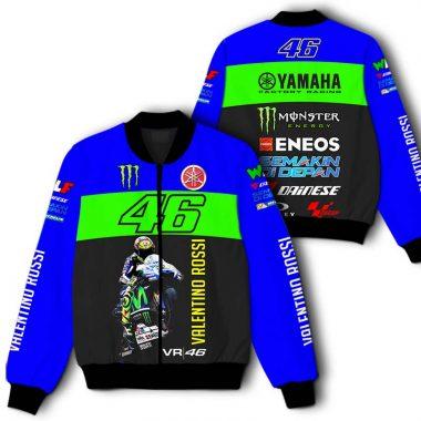 46 Valentino Rossi Yamaha Monster Energy Printful 3D Bomber Jacket Bomber Jacket Size S-5XL