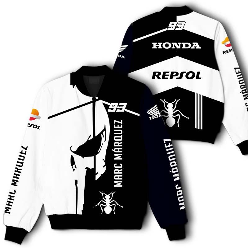 93 Marc Marquez Honda Repsol Black and White Printful 3D Bomber Jacket Bomber Jacket Size S-5XL