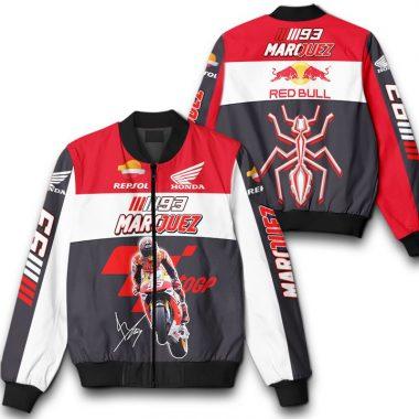 93 Marquez Motorsport Red Bull Repsol Honda Logo Printful 3D Bomber Jacket Bomber Jacket Size S-5XL