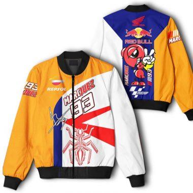 93 Marquez Red Bull Repsol Honda Logo Printful 3D Bomber Jacket Bomber Jacket Size S-5XL