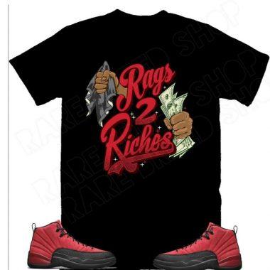 Air Jordan Retro 12 Reverse Flu Game Rags 2 Riches, Rags to Riches Sneaker T-shirt