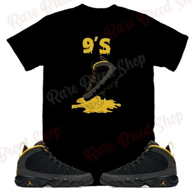 Air Jordan Retro 9 Dark Charcoal University Gold Shoe Dripping 9's Sneaker T-shirt