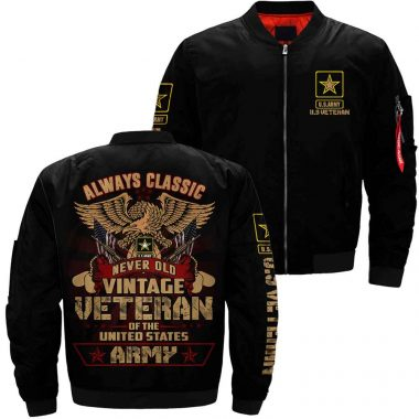 Always Classic Never Old Vintage Veteran Of The United States US Army Bomber Jacket Size S-5XL