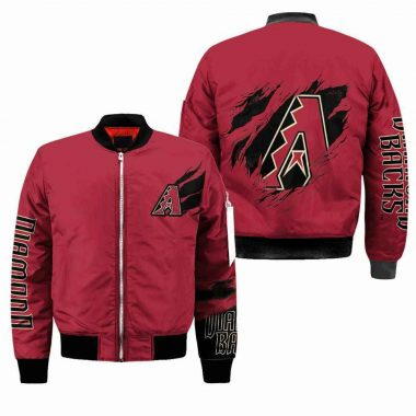 Arizona Diamondbacks MLB Black Bomber Jacket, Fleece Hoodie Size S-5XL