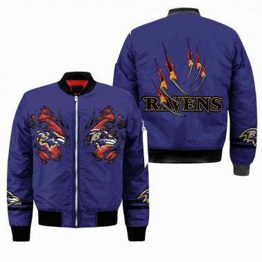 Baltimore Ravens NFL Bomber Jacket, Fleece Hoodie Size S-5XL