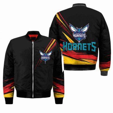 Charlotte Hornets NBA Black Bomber Jacket, Fleece Hoodie Size S-5XL