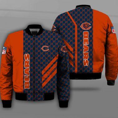 Chicago Bears Bomber Jacket NFL The National Football League Apparel Bomb Bomber Jacket Size S-5XL