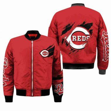 Cincinnati Reds MLB Black Bomber Jacket, Fleece Hoodie Size S-5XL