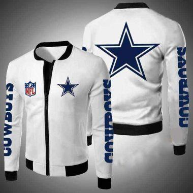 Dallas Cowboys Nfl Bomber Jacket, Fleece Hoodie Size S-5XL