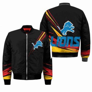 Detroit Lions Nfl Black Bomber Jacket, Fleece Hoodie Size S-5XL