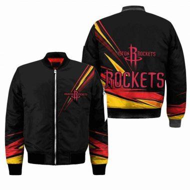 Houston Rockets NBA Black Black Bomber Jacket, Fleece Hoodie Size S-5XL