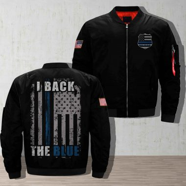 I Back The Blue Navy Printful 3D Bomber Jacket Bomber Jacket Size S-5XL