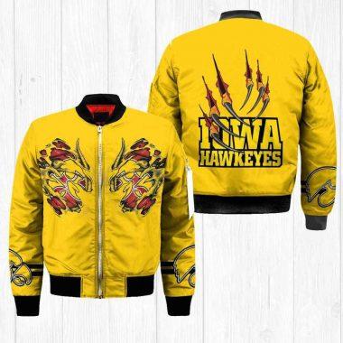 Iowa Hawkeyes Ncaa Claws Bomber Jacket, Fleece Hoodie Size S-5XL