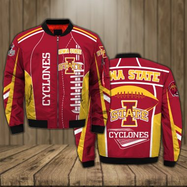 Iowa State Cyclones Basketball team NCAA red Bomber Jacket Apparel Bomber Jacket Size S-5XL