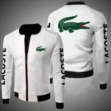 Lacoste Logo White Bomber Jacket, Fleece Hoodie Size S-5XL