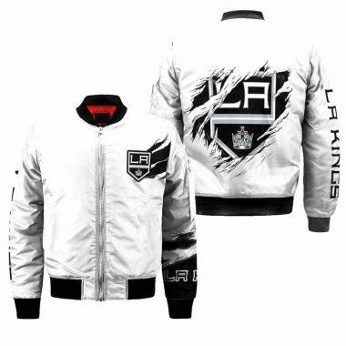Los Angeles Kings NHL Bomber Jacket, Fleece Hoodie Size S-5XL