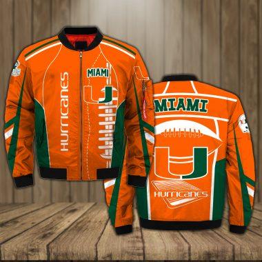 Miami Hurricanes Basketball team NCAA Orange Bomber Jacket Apparel Bomber Jacket Size S-5XL