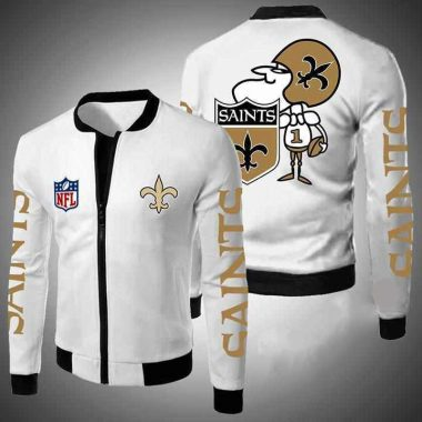 New Orleans Saints Nfl Bomber Jacket, Fleece Hoodie Size S-5XL