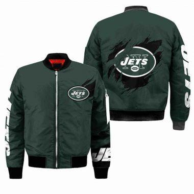 New York Jets NFL Black Bomber Jacket, Fleece Hoodie Size S-5XL