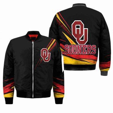 Oklahoma Sooners NCAA Black Black Bomber Jacket, Fleece Hoodie Size S-5XL
