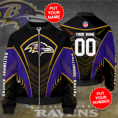 Personalized BALTIMORE RAVENS NFL Football Bomber Jacket