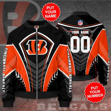 Personalized CINCINNATI BENGALS NFL Football Bomber Jacket