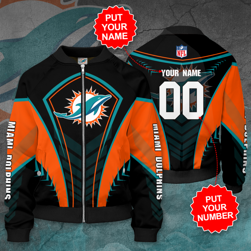 Personalized MIAMI DOLPHINS NFL Football Bomber Jacket