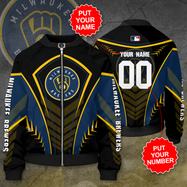 Personalized MILWAUKEE BREWERS MLB Baseball Bomber Jacket