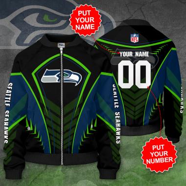 Personalized SEATTLE SEAHAWKS NFL Football Bomber Jacket