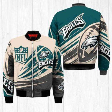 Philadelphia Eagles NFL Balls Black Bomber Jacket, Fleece Hoodie Size S-5XL