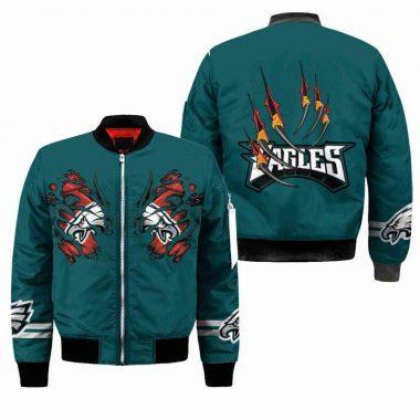 Philadelphia Eagles NFL Claws Black Bomber Jacket, Fleece Hoodie Size S-5XL
