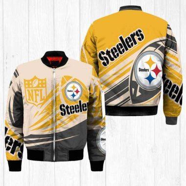 Pittsburgh Steelers NFL Balls Black Bomber Jacket, Fleece Hoodie Size S-5XL