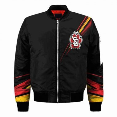 South Dakota Coyotes NCAA Black Bomber Jacket, Fleece Hoodie Size S-5XL