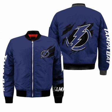 Tampa Bay Lightning NHL Black Bomber Jacket, Fleece Hoodie Size S-5XL