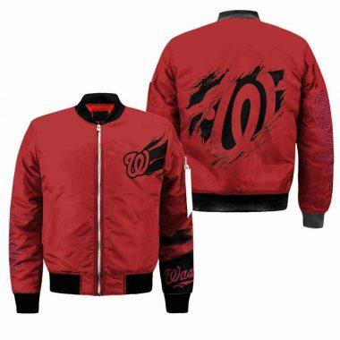 Washington Nationals Mlb Bomber Jacket, Fleece Hoodie Size S-5XL