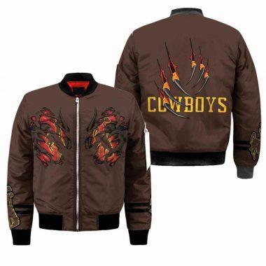 Wyoming Cowboys NCAA Claws Black Bomber Jacket, Fleece Hoodie Size S-5XL
