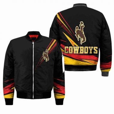 Wyoming Cowboys Ncaa Black Bomber Jacket, Fleece Hoodie Size S-5XL