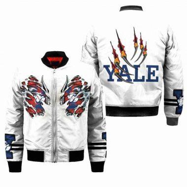 Yale Bulldogs NCAA Claws Bomber Jacket, Fleece Hoodie Size S-5XL