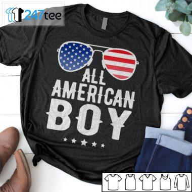 All American Boy Sunglasses American Flag 4th Of July T-shirt, Long Sleeve, Hoodie